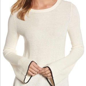 Vince Camuto Tipped Bell Sleeve Sweater Crewneck